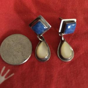 Vintage Lapis, Mother of Pearl Sterling earrings